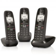 TELEFONO FIJO INALAMBRICO GIGASET AS405 TRIO NEGRO 100 NUMEROS AGENDA/ 20 TONOS/ MANOS LIBRES