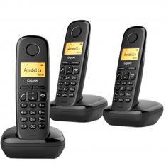 TELEFONO FIJO INALAMBRICO GIGASET A170 TRIO NEGRO 50 NUMEROS AGENDA/ 10 TONOS