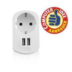 CARGADOR USB EWENT 2 PUERTOS/ 155W/ ENCHUFE SHUKO BLANCO