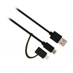 CABLE DE DATOS EWENT USB-MICRO USB + LIGHTNING/ MACHO-MACHO/ NEGRO/ 1M