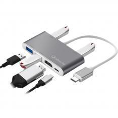 HUB LOGAN USB TIPO C SILVER HT 6 EN 1/ 3 USB 2.0/ USB 3.0/ HDMI 4K/ USB TIPO C/ SILVER
