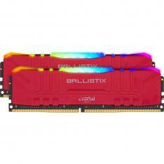 MEMORIA DDR4 16GB 2X8GB CRUCIAL BALLISTIX GAMING  / UDIMM / 3200 MHZ / PC4 25600 / CL16 / RGB / ROJO