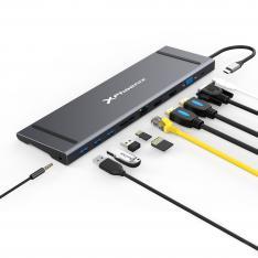 Docking Station Portable Hub USB Tipo C Phoenix 11 en 1 Ethernet RJ45 2 HDMI 4K VGA 3 USB 3.0 Lector de Tarjetas Jack 3.5mm PD Hasta 100W Válido para Portatiles y Tablets Tipo C