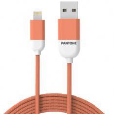 CABLE NYLON PANTONE LIGHTNING A USB 1.5M NARANJA