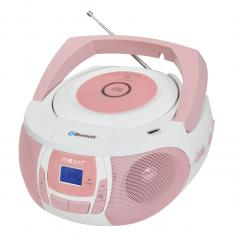 RADIO CD MP3 PORTATIL NEVIR NVR- 481UB BLANCO ROSA / BLUETOOTH