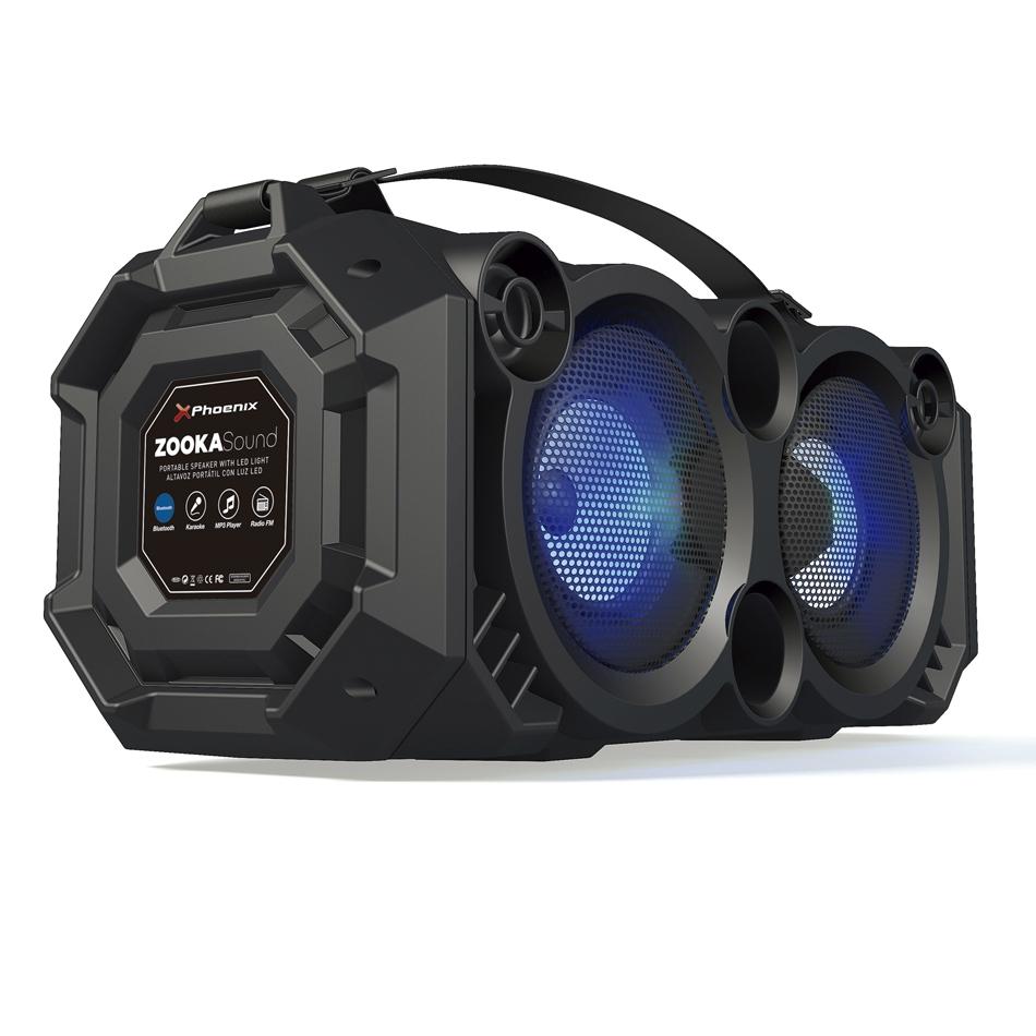Altavoz Portatil Phoenix Phzookasound 24w Con Luz Led Bluetooth Radio Fm Usb Microsd Aux In Entrada De Microfono Dy0000003649